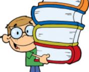 Cartoon student holding books