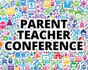 Parent Teacher Conference with colorful background