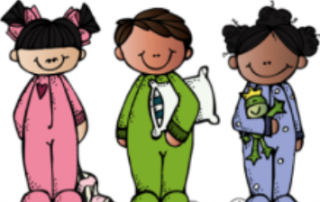 Kids in pajamas with pillow