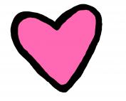 Pink heart shape outlined in black
