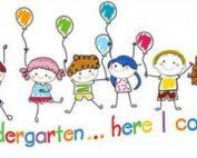 Stick figure children holding balloons